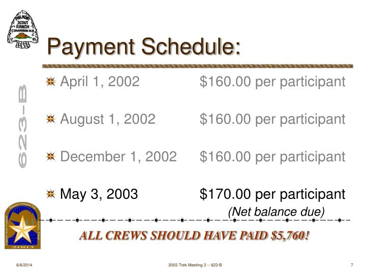 Payment Schedule: