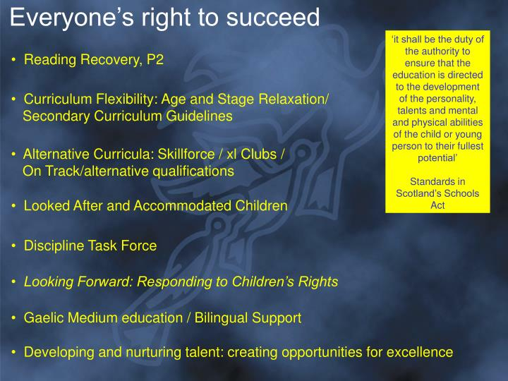 Everyone's right to succeed