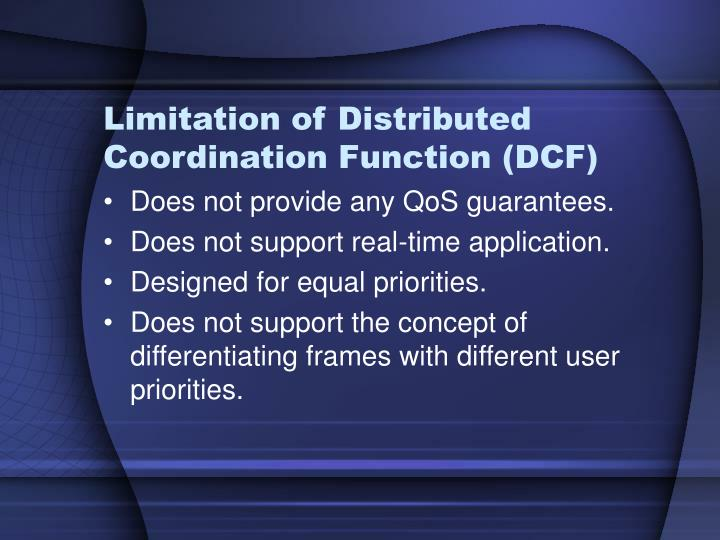 Limitation of Distributed Coordination Function (DCF)