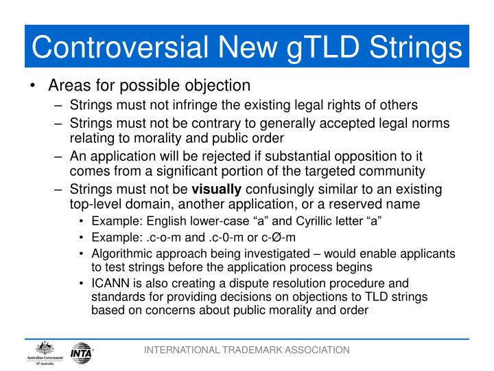 Controversial New gTLD Strings