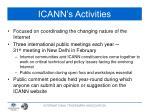 icann s activities