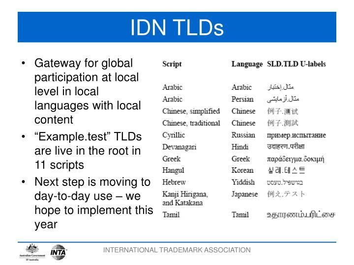 IDN TLDs