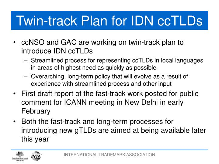 Twin-track Plan for IDN ccTLDs