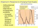 dispersal in response to changing food supply
