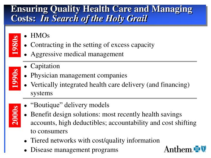 Ensuring Quality Health Care and Managing Costs: