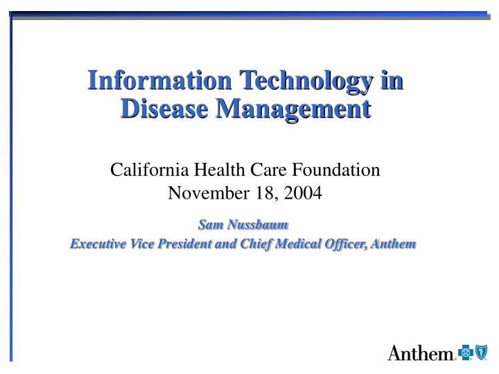 information technology in disease management