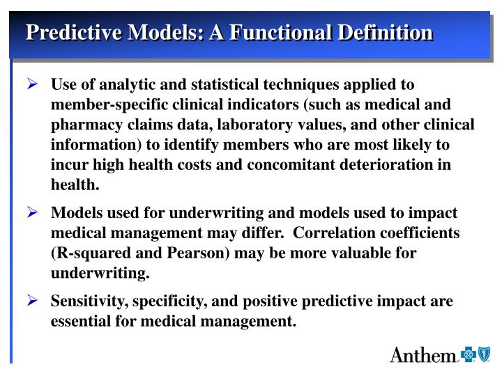 Predictive Models: A Functional Definition