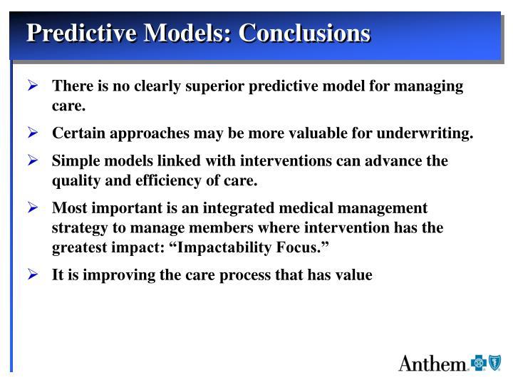 Predictive Models: Conclusions