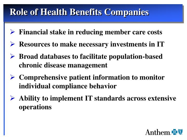 Role of Health Benefits Companies