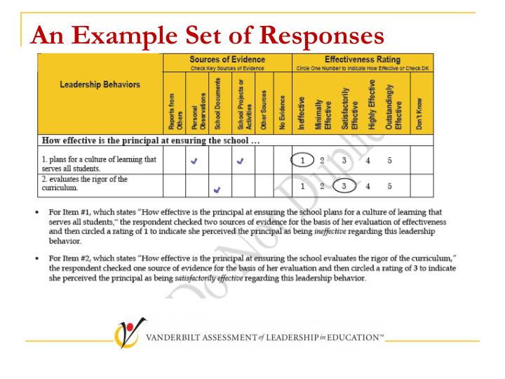 An Example Set of Responses