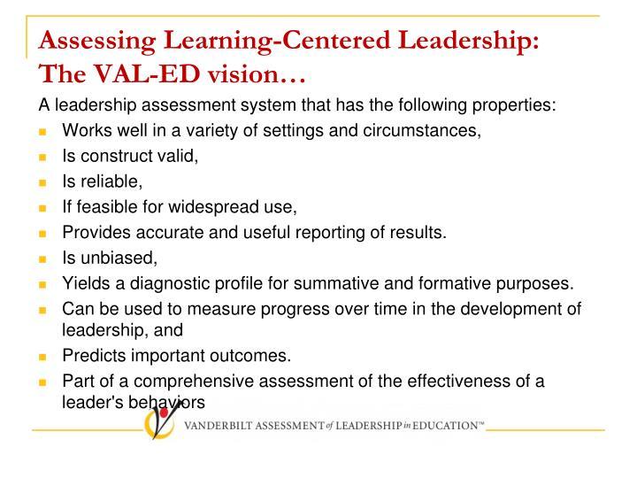 Assessing Learning-Centered Leadership: