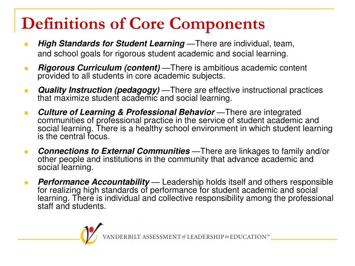 Definitions of Core Components