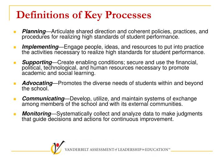 Definitions of Key Processes