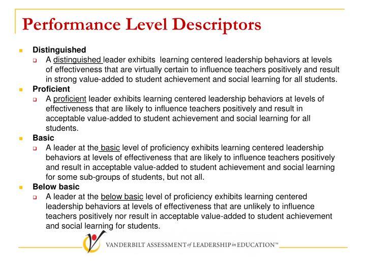 Performance Level Descriptors