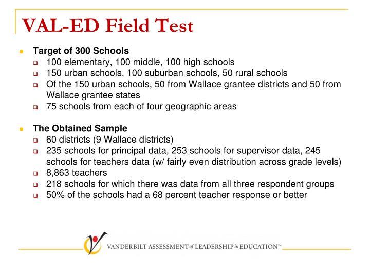 VAL-ED Field Test
