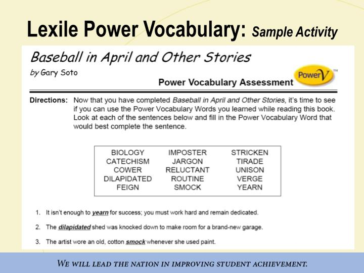 Lexile Power Vocabulary:
