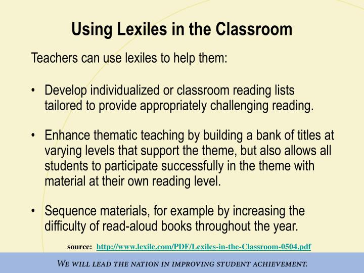 Using Lexiles in the Classroom