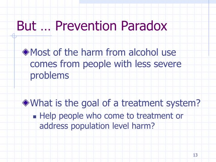But … Prevention Paradox