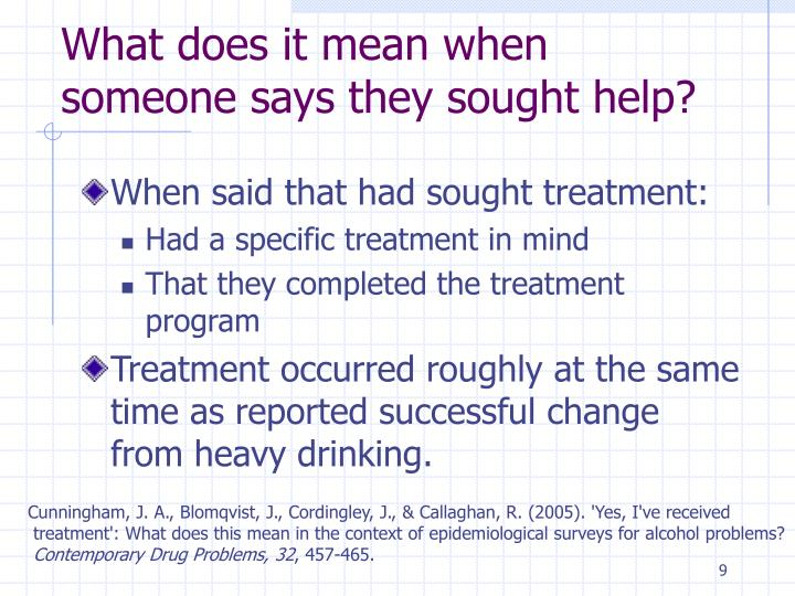 What does it mean when someone says they sought help?