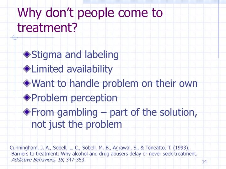 Why don't people come to treatment?