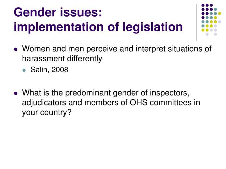 Gender issues: implementation of legislation