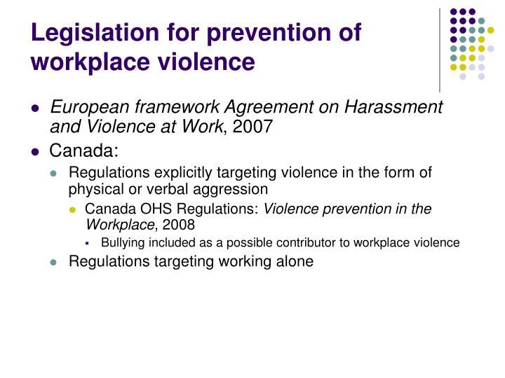 Legislation for prevention of workplace violence