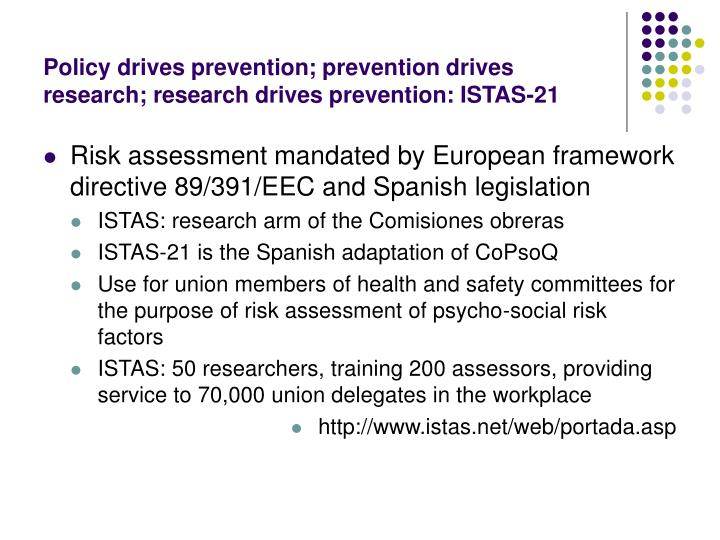 Policy drives prevention; prevention drives research; research drives prevention: ISTAS-21