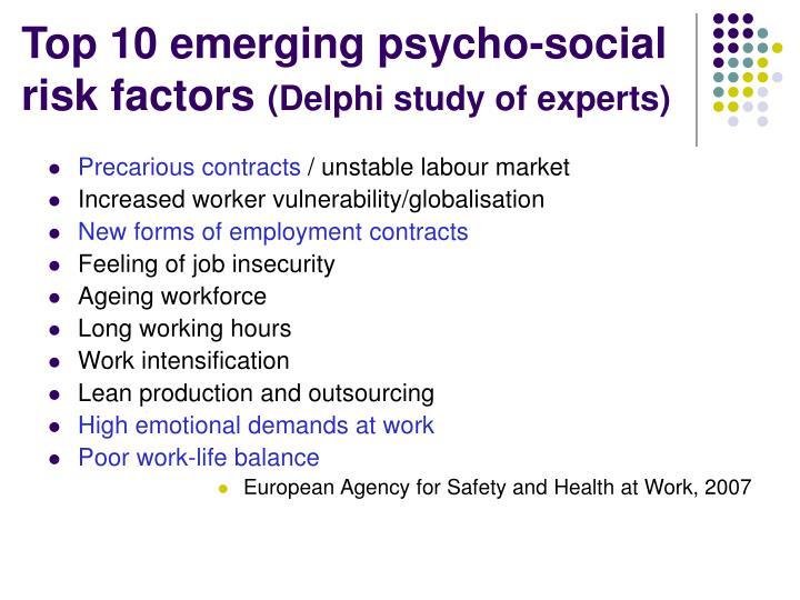 Top 10 emerging psycho-social risk factors