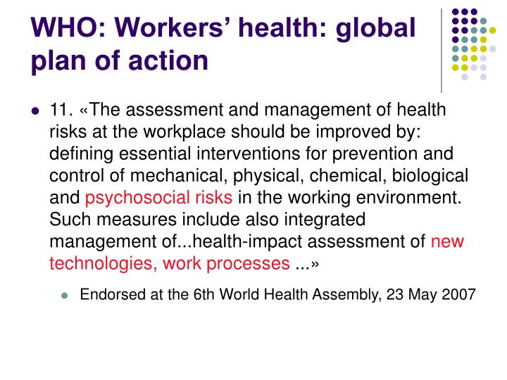 WHO: Workers' health: global plan of action