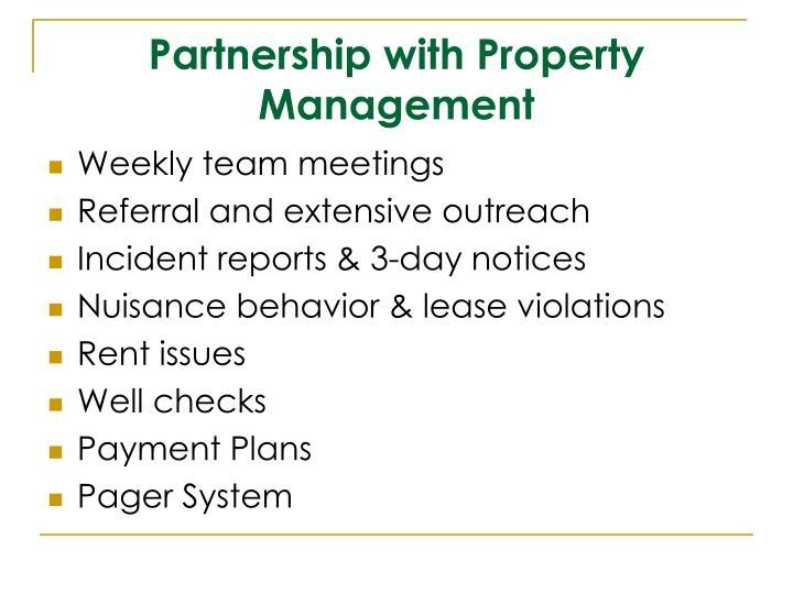 Partnership with Property Management