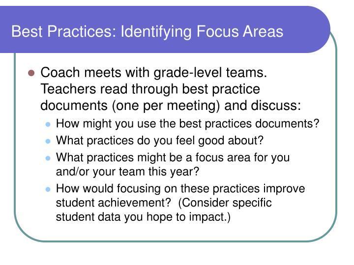 Best Practices: Identifying Focus Areas