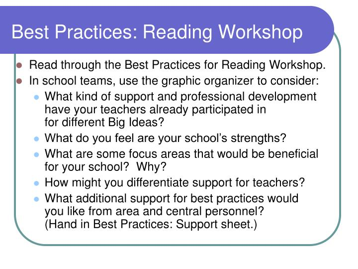 Best Practices: Reading Workshop