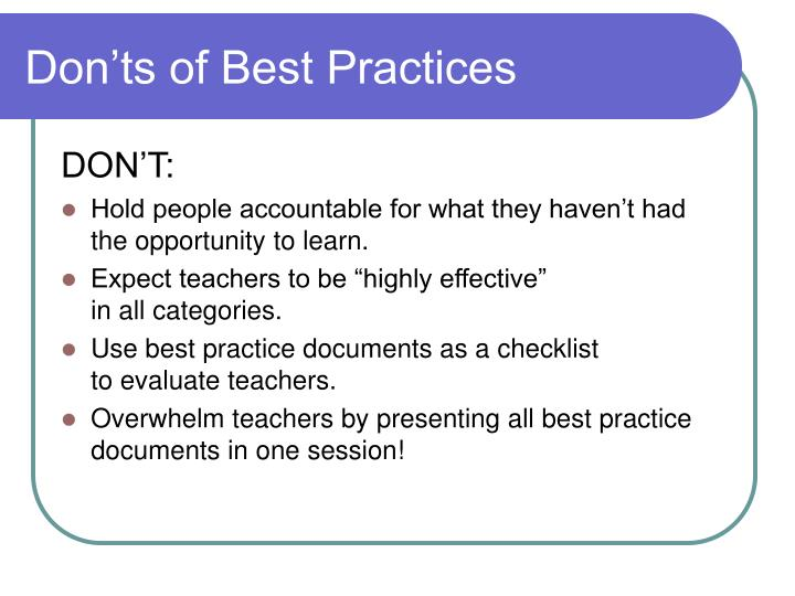 Don'ts of Best Practices