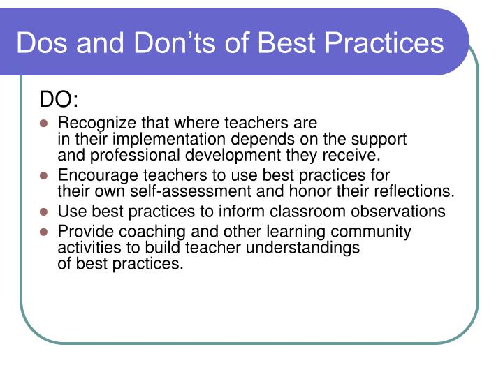 Dos and Don'ts of Best Practices
