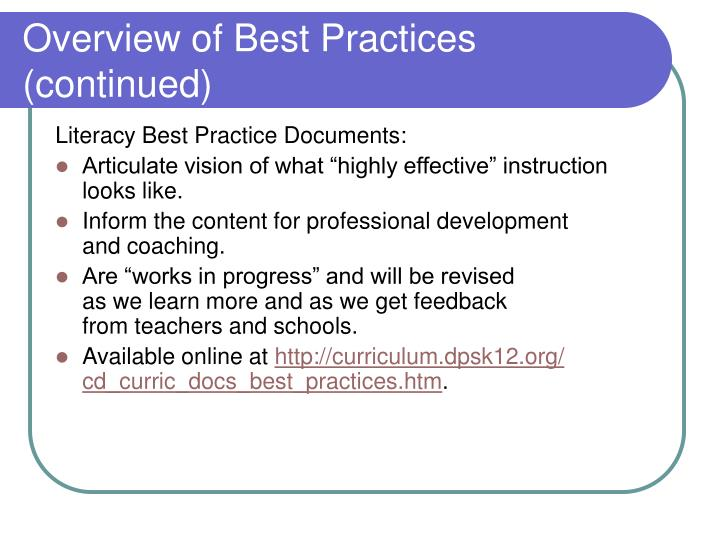 Overview of Best Practices (continued)