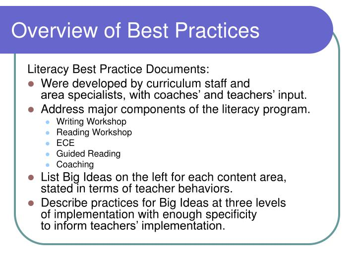 Overview of Best Practices