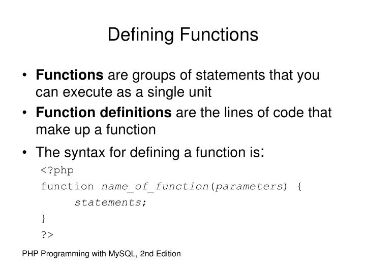 Defining Functions