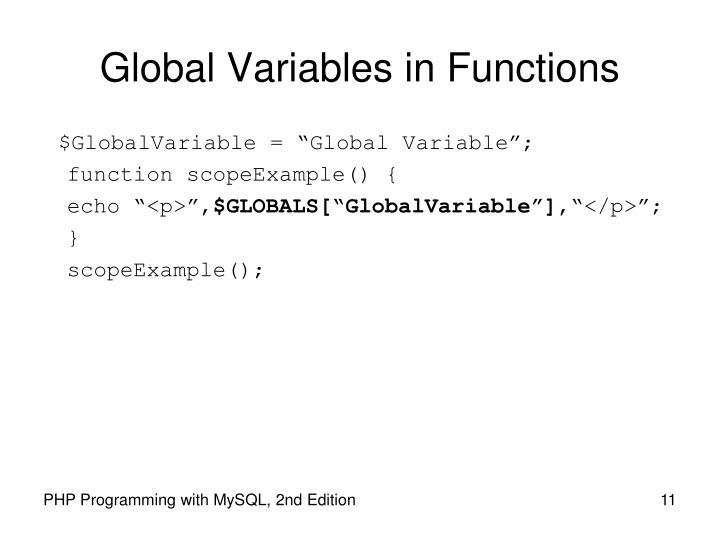 Global Variables in Functions