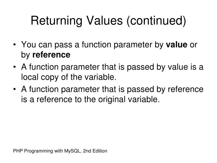 Returning Values (continued)