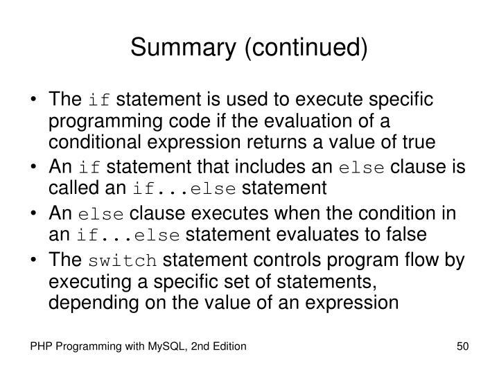 Summary (continued)