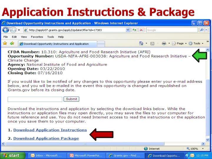 Application Instructions & Package