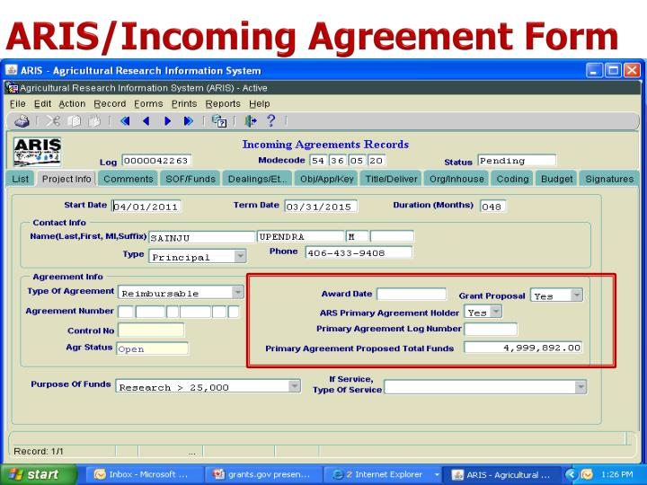 ARIS/Incoming Agreement Form