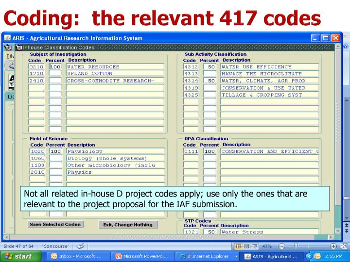 Coding:  the relevant 417 codes