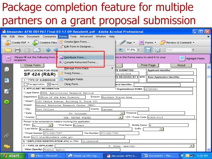 Package completion feature for multiple partners on a grant proposal submission