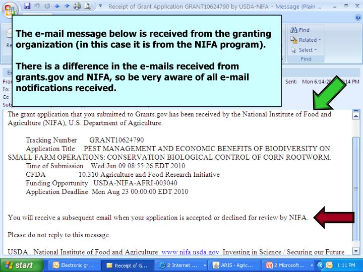 The e-mail message below is received from the granting organization (in this case it is from the NIFA program).