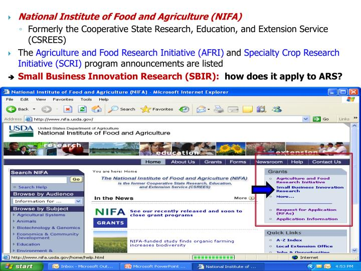 National Institute of Food and Agriculture (NIFA)