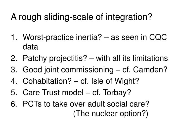 A rough sliding-scale of integration?