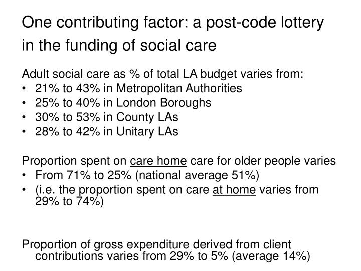 One contributing factor: a post-code lottery in the funding of social care