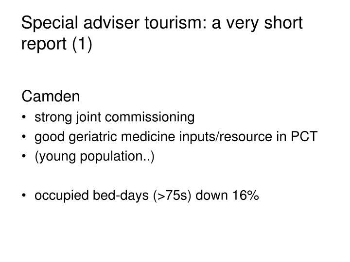 Special adviser tourism: a very short report (1)