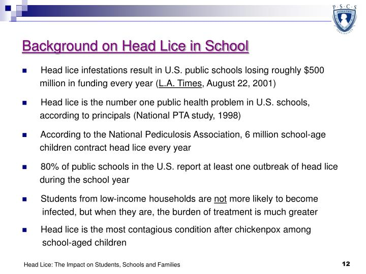 Background on Head Lice in School